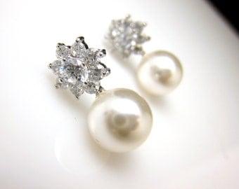 Bridal earrings jewelry wedding bridesmaid gift pearl earrings cubic zirconia deco Flower post stud round 8mm swarovski white or cream pearl