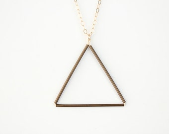 Long Brass Triangle Necklace - 30 inch - SALE