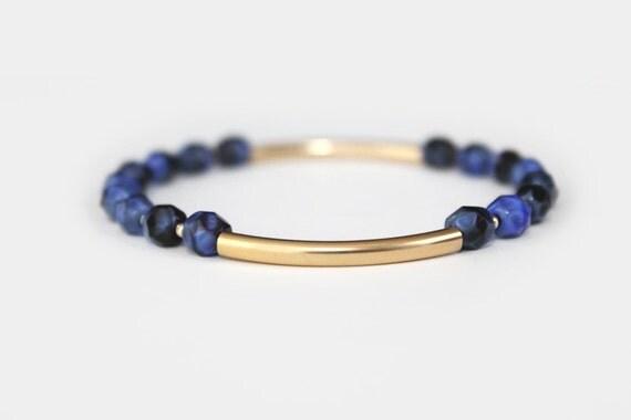Lapis Blue Beaded Bar Bracelet - Gold Filled or Sterling Silver - Nalini