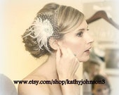Vintage Style Bridal Hair Fascinator, feathers french net lace rhinestone jewel feathered fascinator  hair clip