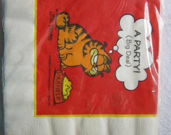 vintage GARFIELD napkins - PARTY, big deal - paper napkins