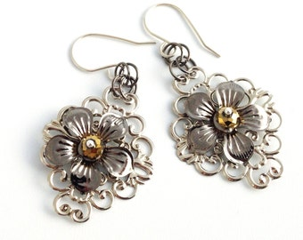 Kinetic Floral Garden Crystal Earrings with Sterling Silver Ear Wire