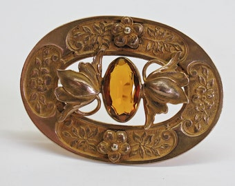 1900s Art Nouveau Gilt Flower Brooch Citrine Topaz Glass Stone