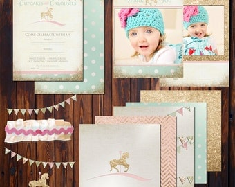 Cupcakes and Carousels Digital Party Kit - Print at Home