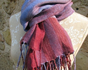 Handwoven Linen Flax Scarf (Shawl)- Purple lines- Large Linen Stole, Linen Oversized Scarf,