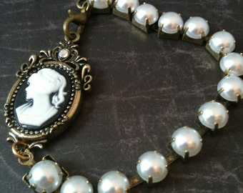 Pearl and Cameo Victorian Bracelet