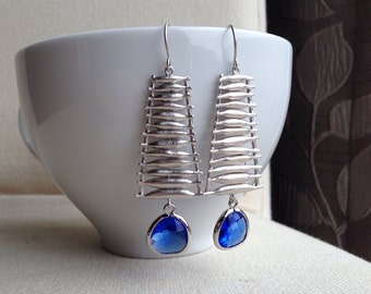 Silver Ladder Earrings - Cobalt Glass Drops - gift, mother, sister, daughter, wife, bridesmaid, friend, romantic, birthday, anniversary