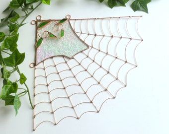 Unique Medium Corner Spider Web Wire Art Window Sun Catcher or Wall Hanging for Home Custom Design Mothers Day Gift
