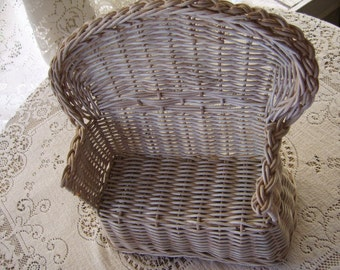 Vintage White Wicker Doll Chair Settee Furniture