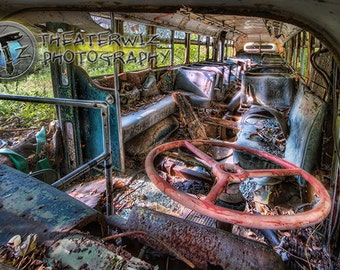 A Scary Fare - Canton Ohio SARTA Bus in Decay Fine Art  Photographic  Print