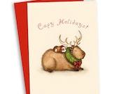 Capy Holidays Christmas Card - Guinea Pig and Capybara Holiday Card
