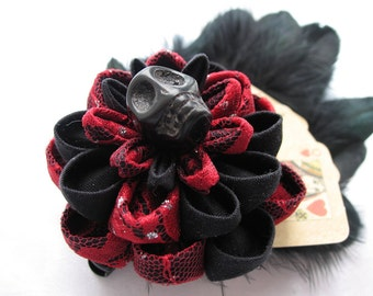 Dead Man's Hand Old West Kanzashi Flower Hair Clip