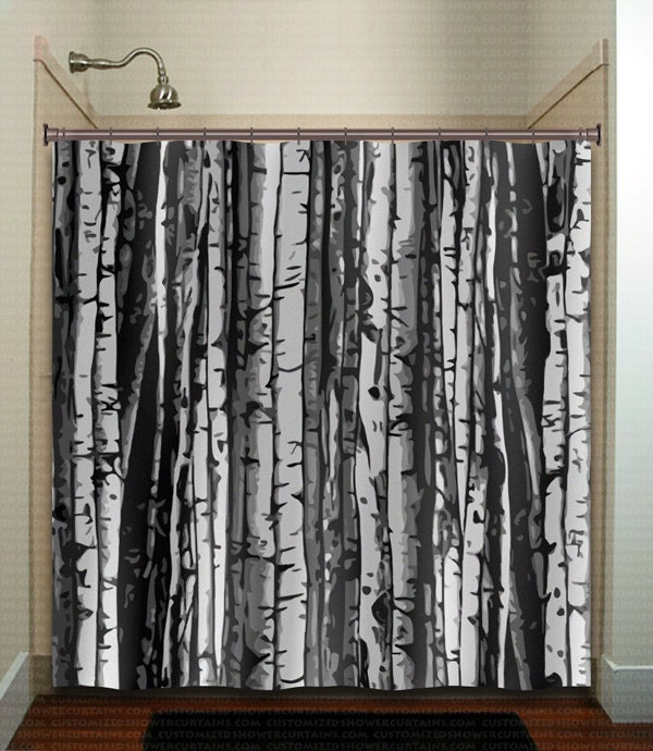 Forest wood trunk gray birch tree shower curtain by tablishedworks