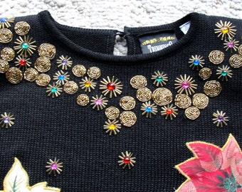 Dazzling 80s Beaded Sweater Becomes Ugly Christmas Sweater