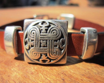 camel  brown leather bracelet with sterling silver plated tribal design spacers and clasp
