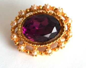 Vintage English Rhinestone Brooch Pin Corsage - Purple Glass and Faux Seed Pearls in Gold Tone Metal - from England United Kingdom UK