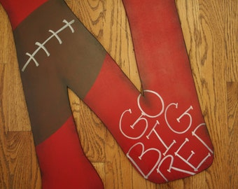Go Big Red N Custom Letter door hanger, wall decor --approx. 22 inches tall--MADE TO ORDER