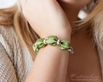 Olive green fabric bead bracelet Fall bracelet