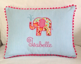 Appliqued Seersucker Elephant Pillow Cover