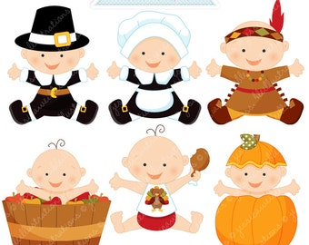 Thanksgiving Baby Cute Digital Clipart - Commercial Use OK - Thanksgiving Graphics, Baby Thanksgiving, Autumn Baby Clipart
