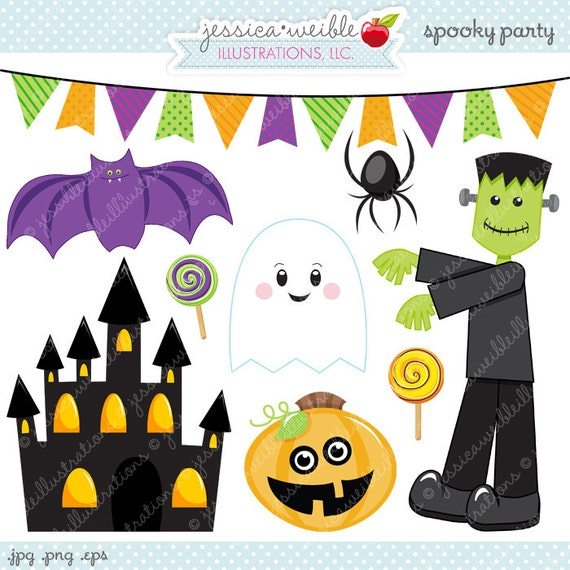 Spooky Party Cute Digital Clipart - Commercial Use OK - Halloween ...