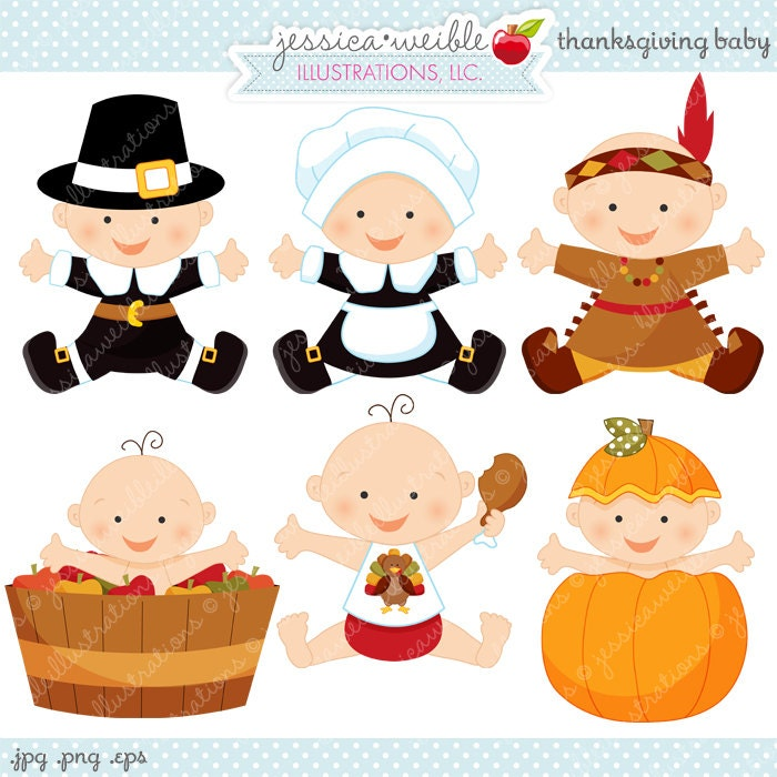 Thanksgiving Baby Cute Digital Clipart Commercial Use OK