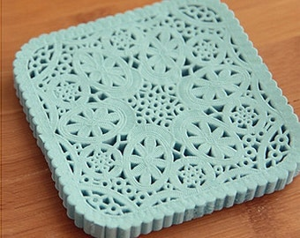 30 Square Lace Paper Doilies - Blue (3.9 x 3.8in)