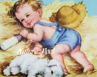 Little Boy Blue and His Dog Reproduction Downloadable, Printable, Digital Art Image Instant Download Print and Frame