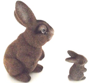 Vintage Pair of Flocked Plastic Brown Bunny Rabbits