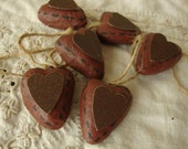 Primitive hearts ornaments paper mache primitives rustic home decor mini heart ornaments Cottage style romantic decor