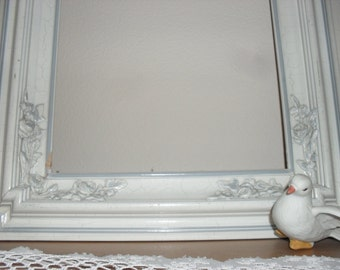 VINTAGE ORNATE FRAME White with Blue molding Shabby Chic Frame