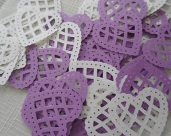 Purple and White Lattice Die Cut Hearts  Scrapbooking 60 pc