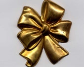 4 Bunched Up Bow Brass Metal Stampings