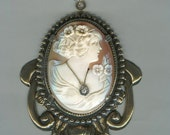 Necklace with Antique Habille Diamond Cameo and Crystal