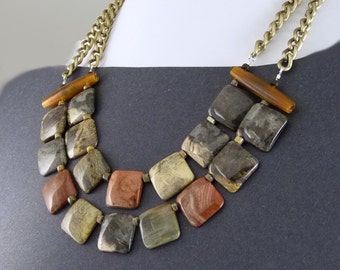 Jasper Contemporary Statement Bib Necklace