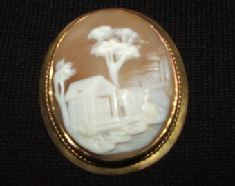 "Antique""Rebecca at the Well"" Cameo Brooch"