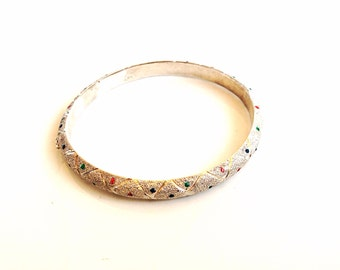 Ornate Vintage Sterling Silver bangle Bracelet hinged bangle 925 silver