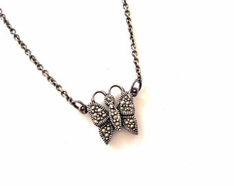 vintage marcasite butterfly necklace sterling silver pendant chain necklace sterling 925