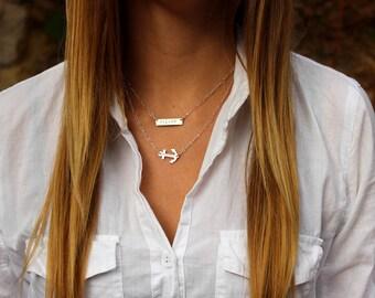 Bar and Anchor Layering Necklace Set