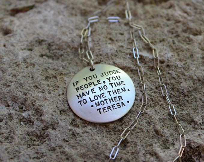 Mother Teresa Quote Necklace (or Your Personalized Quote)