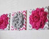 Nursery Decor Flower Wall Art Hot Pink and Gray Flower Chevron Home Decor 12 x 12 Baby Nursery Decor Set of THREE