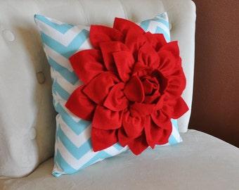 Home Decor Pillows Red Dahlia on Aqua and White Chevron Pillows  Decorative Pillow Bedroom Decor