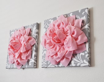 "TWO Wall Flowers -Light Pink Dahlia on Gray and White Damask 12 x12"" Canvas Wall Art- Baby Nursery Wall Decor-"