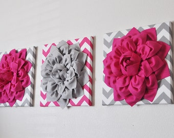 Custom -Nursery Decor- Flower Wall Art Hot Pink and Grey Flower Chevron Home Decor 12 x 12 Baby Nursery Decor Set of THREE