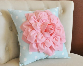 Light Pink Dahlia Flower on Baby Blue Polka Dot 14 x 14 Pillow - Nursery Pillow Decor -