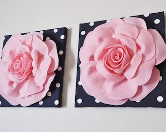 "TWO Flower Wall Art - Light Pink Rose on Navy and White Polka Dot 12 x12"" Canvas Wall Hanging - 3D Felt Flower"