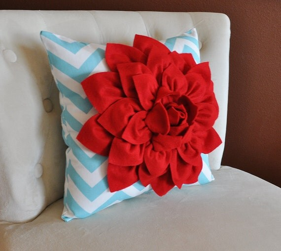 items similar to home decor pillows red dahlia on aqua and