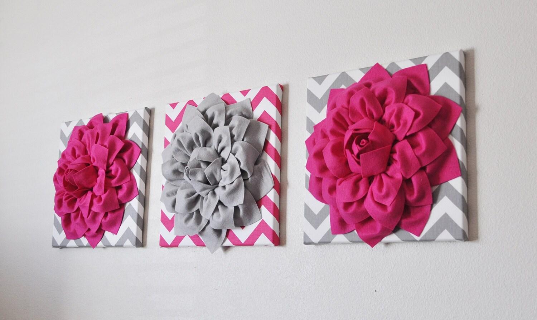Custom Nursery Decor Flower Wall Art Hot Pink And Grey Flower Chevron Home Decor