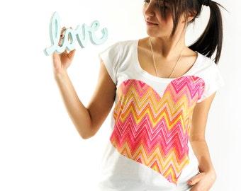 New Arrival! Orange Love Women t-shirt summer fashion, one side printed