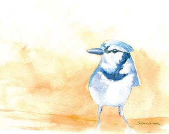 Bluejay Watercolor Painting - 7 x 5 - Giclee Print - Bird Painting - Bird Watercolor